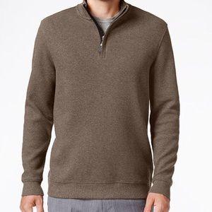 TASSO ELBA Mens Quarter Zip Sweater Brown Large